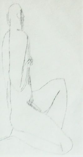 Male Nude, a drawing by Joseph Mellor Hanson
