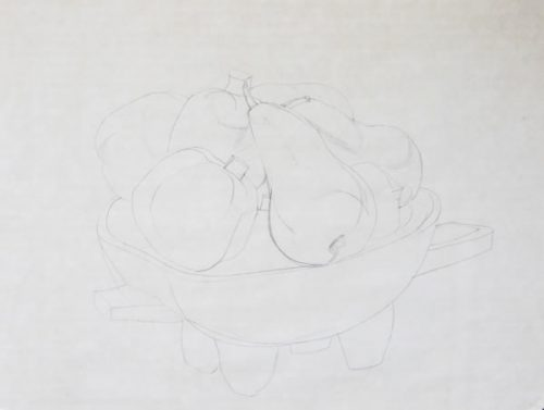 Still Life with Fruit, a drawing by Joseph Hanson
