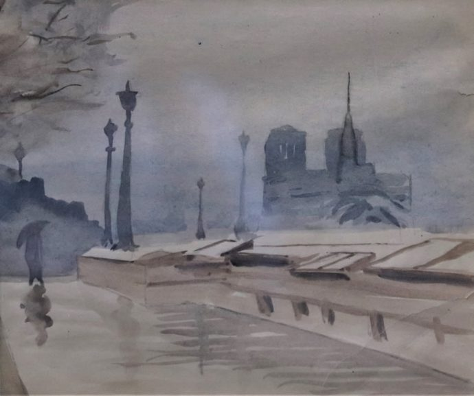 View of Paris with Notre Dame Cathedral-student work by Norman Daly